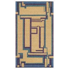 Vintage Swedish Geometric Rug in Yellow, Blue, Green and Purple