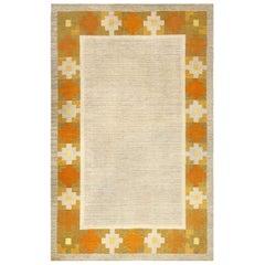 Vintage Swedish Geometric Yellow and Gray Handwoven Wool Rug