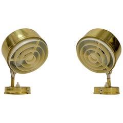 Vintage Swedish Gold Colored Lamps, Set of 2