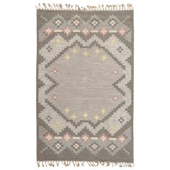 Swedish Gray and Pink Wool Flat-Weave Rug Signed by Gitte Grannsjo Carlsson