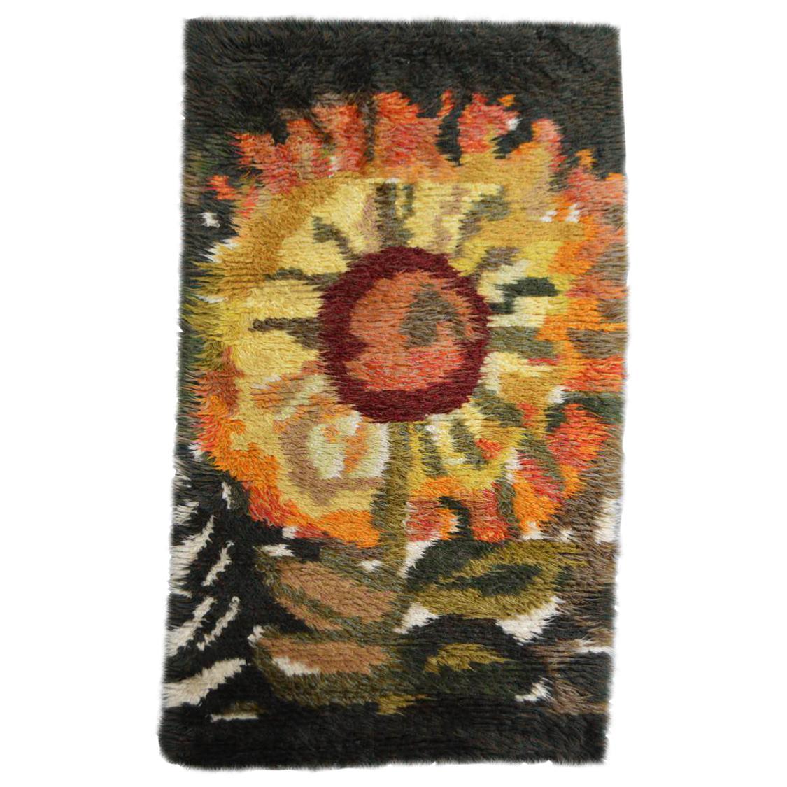 Vintage Swedish Handmade Sunflower Rya Shag Rug