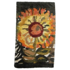 Vintage Swedish Handmade Sunflower Rya Shag Rug