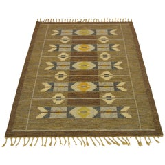 Vintage Swedish Handwoven Rug Signed Is by Ingegerd Silow