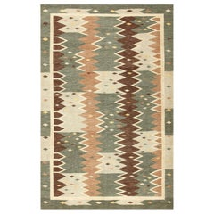 Vintage Swedish Inspired Modern Kilim Rug. Size: 6 ft 11 in x 10 ft 6 in