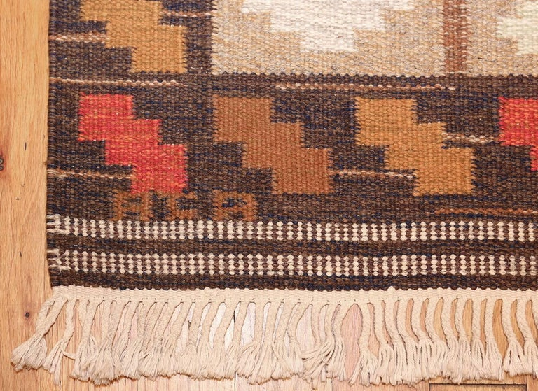 Hand-Woven Vintage Swedish Kilim by Ana Joanna Angstrom. Size: 4 ft 8 in x 6 ft 7 in  For Sale