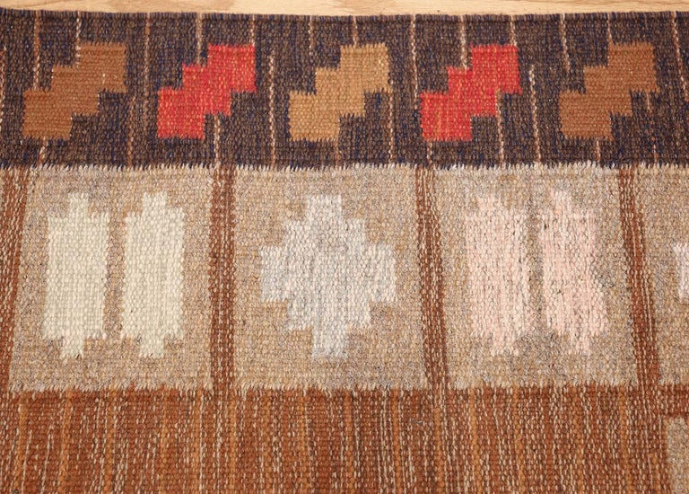 Wool Vintage Swedish Kilim by Ana Joanna Angstrom. Size: 4 ft 8 in x 6 ft 7 in  For Sale