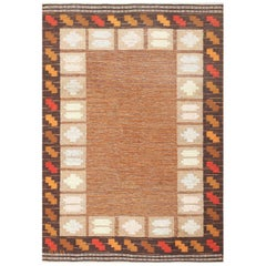 Vintage Swedish Kilim by Ana Joanna Angstrom. Size: 4 ft 8 in x 6 ft 7 in