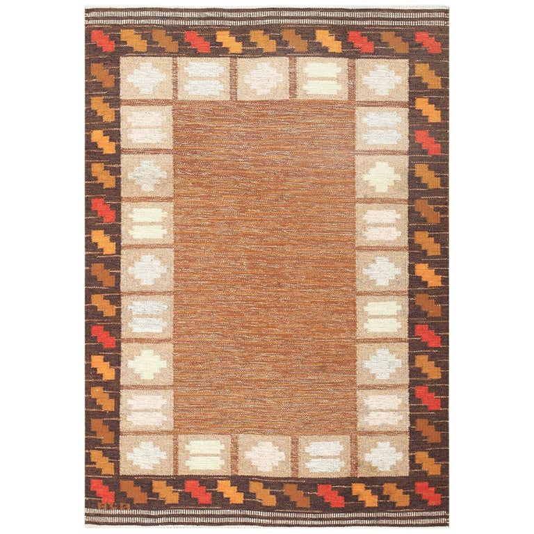 Vintage Swedish Kilim by Ana Joanna Angstrom. Size: 4 ft 8 in x 6 ft 7 in  For Sale