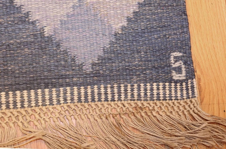 Wool Vintage Swedish Kilim by Britta Swefors. Size: 6 ft 6 in x 9 ft 3 in  For Sale
