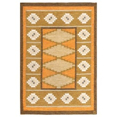 Vintage Swedish Kilim by Ingegerd Silow. Size: 4 ft 7 in x 6 ft 6 in