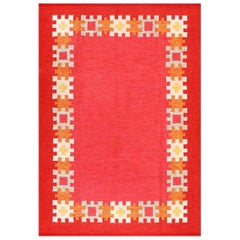 Vintage Swedish Kilim by Ingegerd Silow. Size: 6 ft 4 in x 9 ft