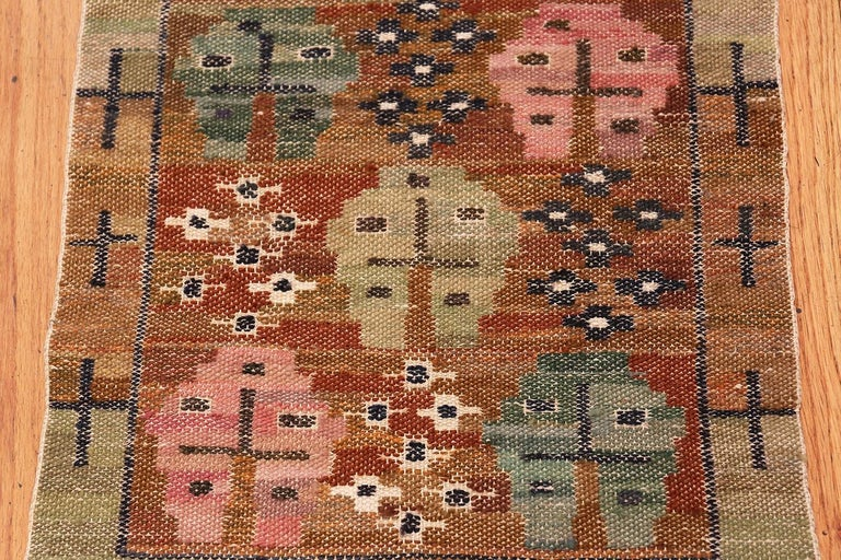 Hand-Knotted Vintage Swedish Kilim by Marta Maas For Sale