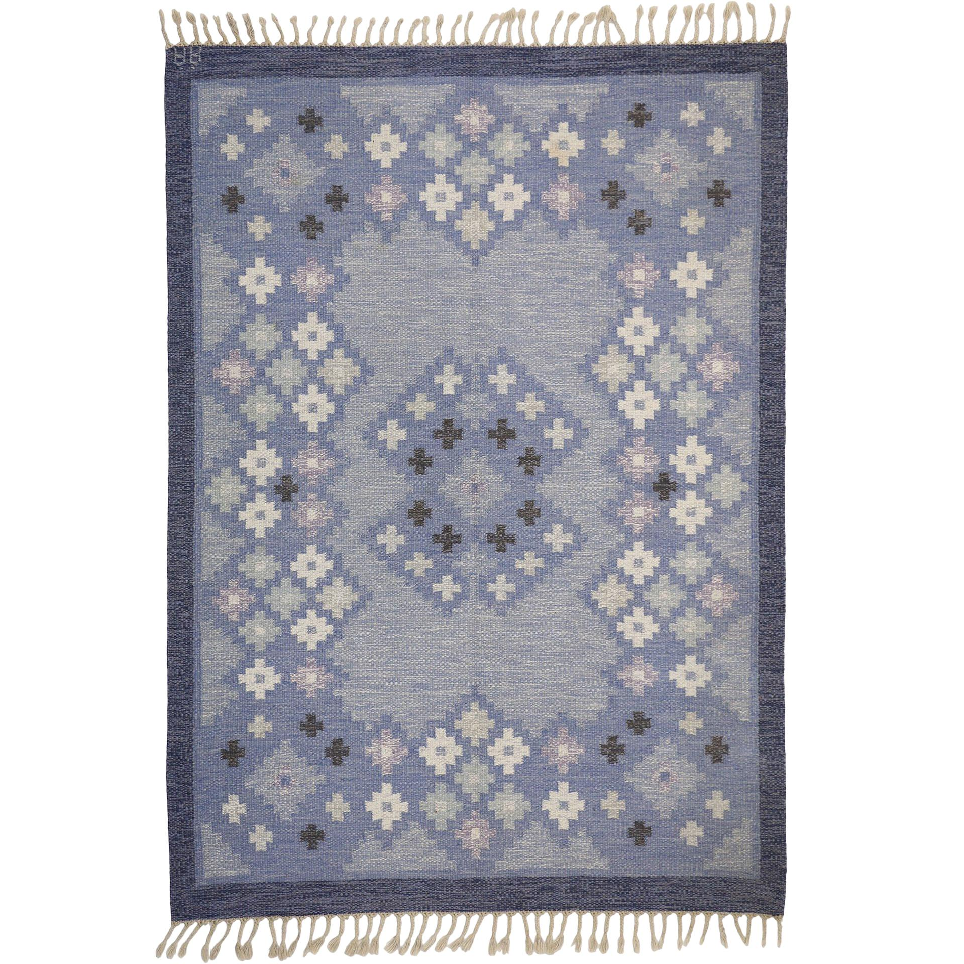 Vintage Swedish Kilim Rollakan Rug with Scandinavian Modern by Anna Andersson