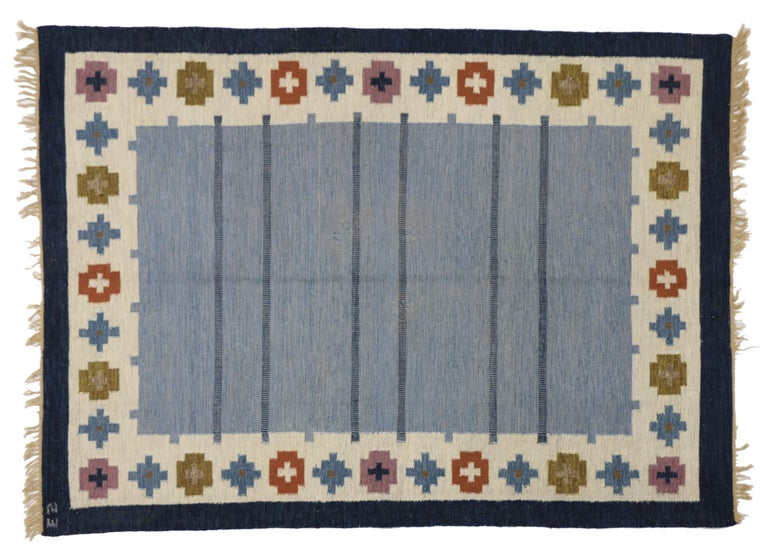 Vintage Swedish Kilim Rug with Scandinavian Modern Style by Ellen Stahlbrand In Good Condition For Sale In Dallas, TX