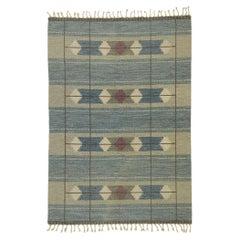 Vintage Swedish Kilim Rug with Scandinavian Modern Style, Flat-Weave Rollakan