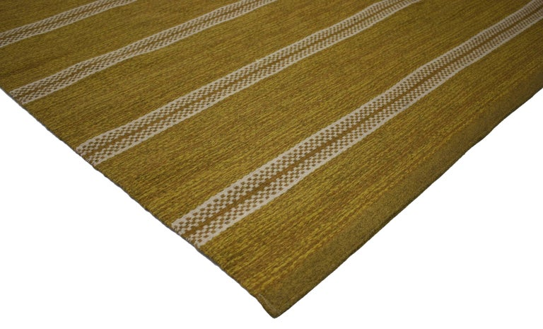 76644 Swedish Rollakan Kilim rug with Scandinavian Modern style. This hand-woven wool vintage Swedish Kilim rug with Scandinavian Modern style features a striped pattern composed of both wide and narrow bands forming a captivating visual effect. Two