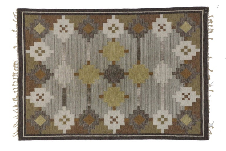 20th Century Vintage Swedish Kilim Rug with Scandinavian Modern Style For Sale