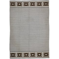Vintage Swedish Kilim Rug with Scandinavian Modern Style