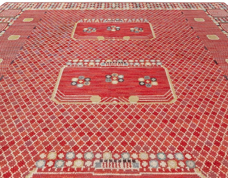 Hand-Knotted Vintage Swedish 'Krabban' 'Crab' Rug by Barbro Nilsson For Sale