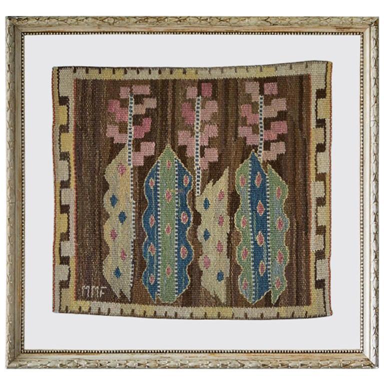 Vintage Märta Måås-Fjetterström Wall Tapestry in Antique Frame, Sweden 1940's