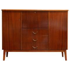Vintage Swedish Mid-Century Modern Mahogany Cabinet Drop Leaf Desk Secretary