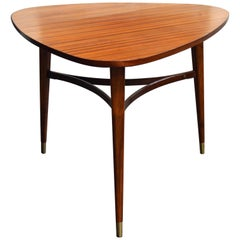 Vintage Swedish Mid-Century Modern Mahogany Triangle or Tripod Lamp End Table