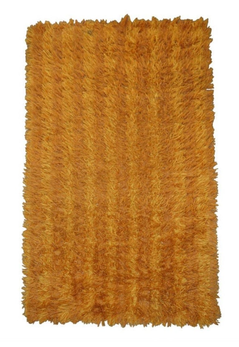 Fabric Vintage Swedish Modern 3x5 Striped Orange and Gold Shag Rya Rug For Sale