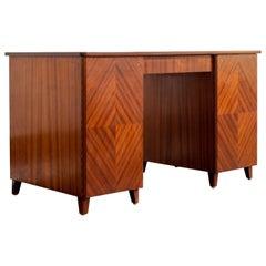Vintage Swedish Modernist Ribbon Mahogany Parquetry Desk