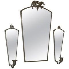 Vintage Swedish Pewter Eagle Mirror and Sconces by Svenskt Tenn