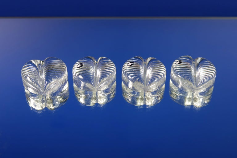 Mid-Century Modern Vintage Swedish Pukeberg Clear Glass Place Knife Holders, 1960s For Sale