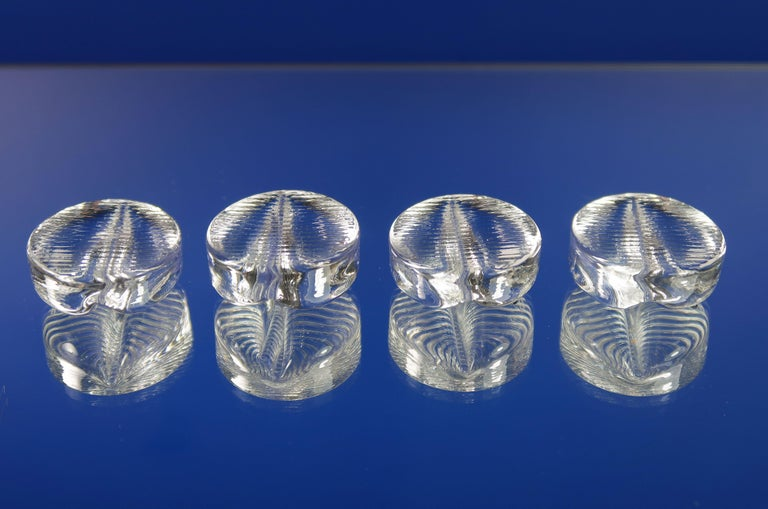 Vintage Swedish Pukeberg Clear Glass Place Knife Holders, 1960s In Good Condition For Sale In Copenhagen, DK