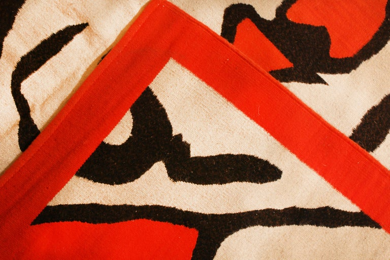 Late 20th Century Vintage Swedish Red and Beige Wool Kilim Rug For Sale