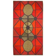 Vintage Swedish Red Diamond Flat-Weave Rug, Sverige Riolakan by Polly Bjorkm