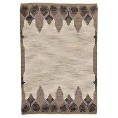 Vintage Swedish rolakan flat weave rug Kelim by Judith Johansson `Norrviken`