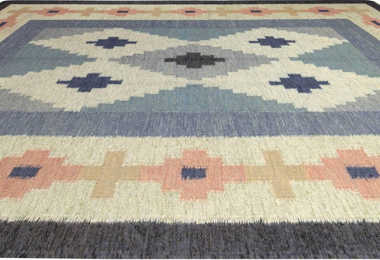 Hand-Knotted Vintage Swedish Rug by A.J For Sale