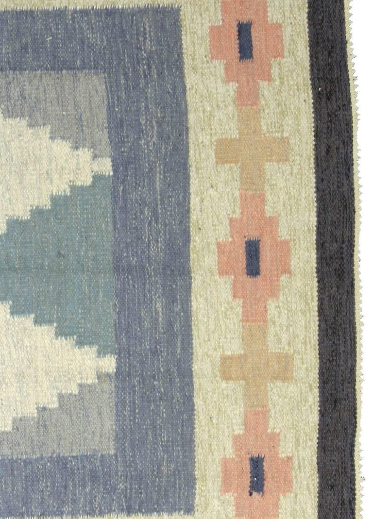 Wool Vintage Swedish Rug by A.J For Sale