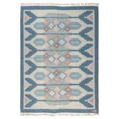 Vintage Swedish Rug by Ingegerd Silow, Woven Signature on Blue Border 'IS'