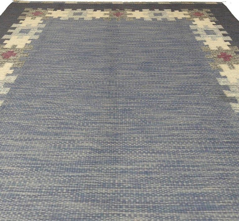 Wool Vintage Swedish Rug by I.S. For Sale