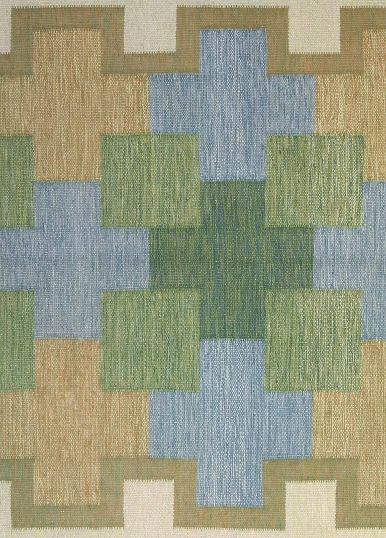 Vintage Swedish rug by K.P. Size: 6'4