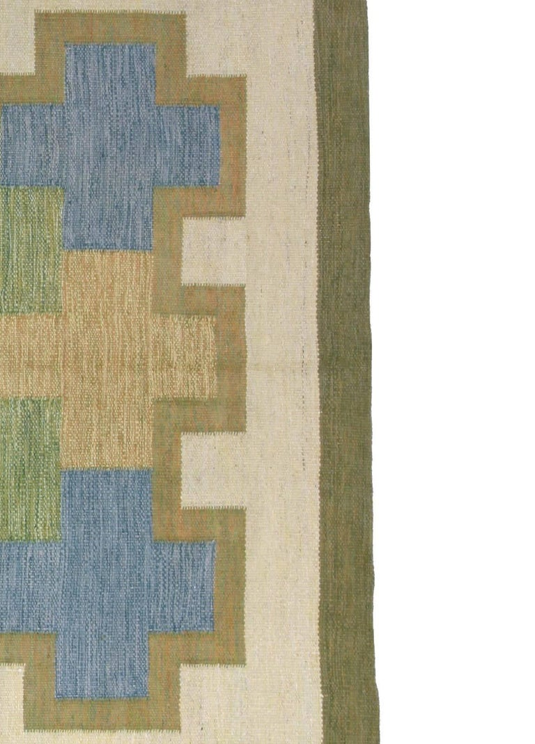 Hand-Woven Vintage Swedish Rug by K.P. For Sale