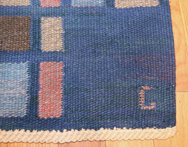 Scandinavian Modern Vintage Swedish Rug For Sale