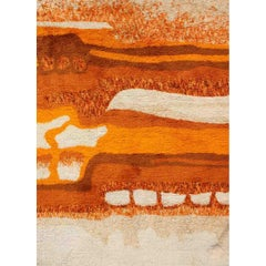 Vintage Swedish Rya Rug with a Modern Design in Burnt Orange, Red, Cream, Orange