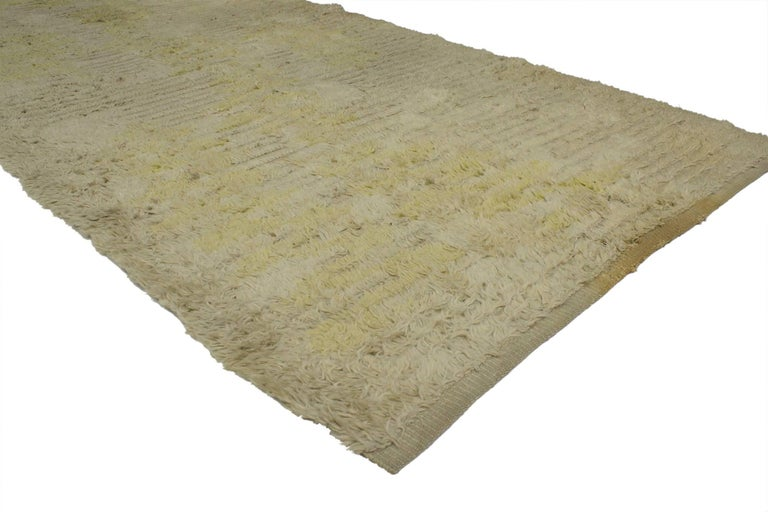 Hand-Knotted Vintage Swedish Rya Runner with Scandinavian Modern Style For Sale