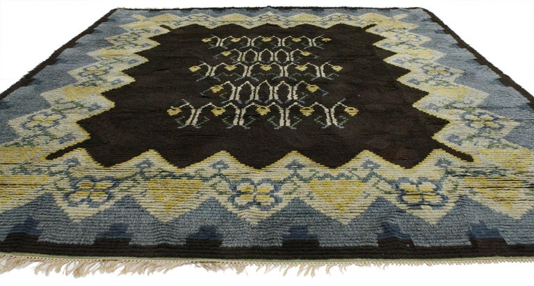 Hand-Knotted Vintage Swedish Rya Shag Rug with Scandinavian Modern Style and Danish Design For Sale