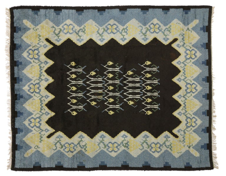 Vintage Swedish Rya Shag Rug with Scandinavian Modern Style and Danish Design In Good Condition For Sale In Dallas, TX