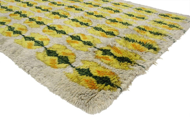 Hand-Knotted Vintage Swedish Rya Shag Rug with Scandinavian Modern Style with Pop of Color For Sale