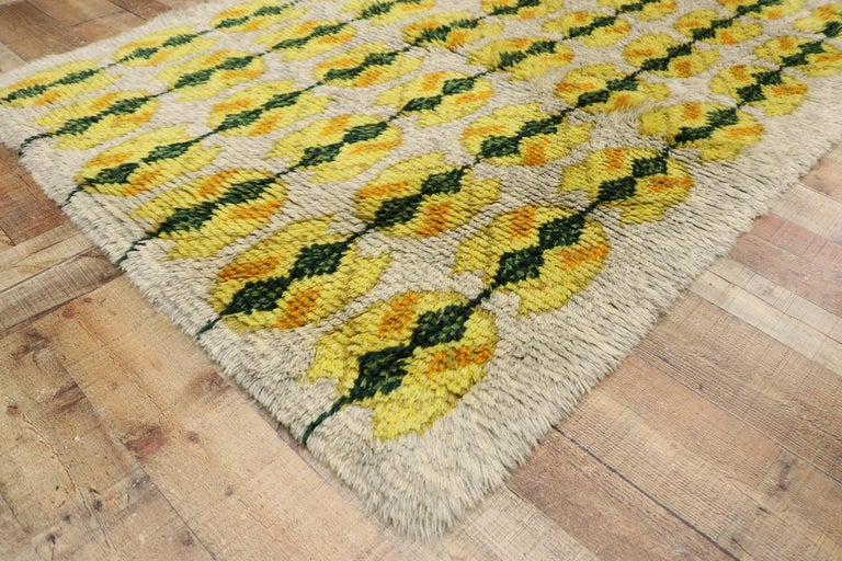 Vintage Swedish Rya Shag Rug with Scandinavian Modern Style with Pop of Color For Sale 1