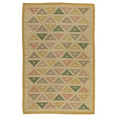 Vintage Swedish Triangles Flat-Woven Wool Rug by Sigvard Bernadette