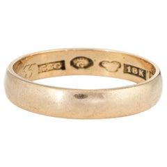 Vintage Swedish Wedding Band 18 Karat Yellow Gold Ring Estate Jewelry