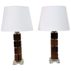 Vintage Swedish Walnut and Glass Table Lamps 1960s, Set of Two